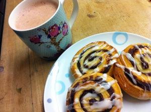 Cinnamon whirls and hot chocolate